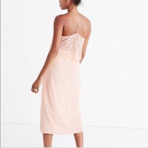 Madewell Pink Silk Lowlight Lace-Inset Midi Dress